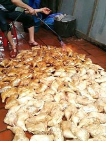 It is said that Chinese in the chicken-processing industry use welding torches to grill chickens