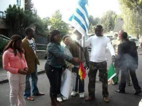A Cameroonian flag was torched in Bamenda
