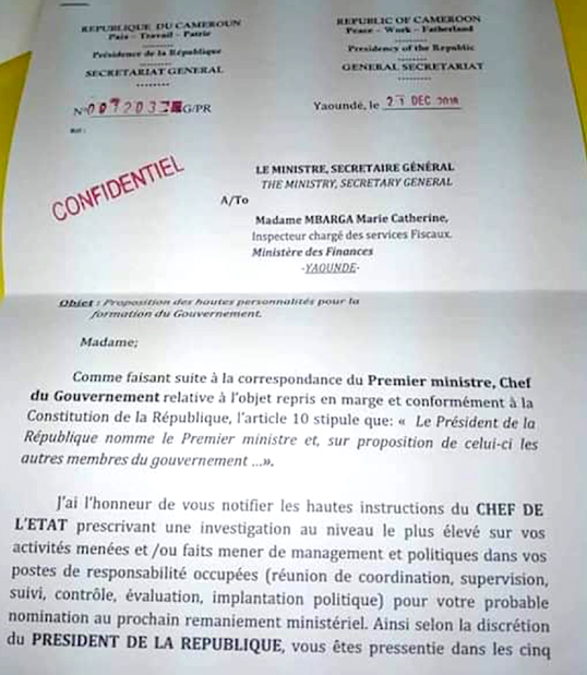 28421 in SBBC 28421 Non ce document nemane pas de la presidence de la Republique du Camero SyA