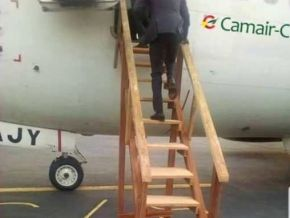 No, this picture showing a Camair-Co plane with a wooden airstair is not authentic