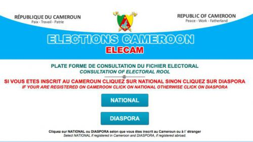 Is there an online platform for Cameroonians to verify if they are registered in the voting register?