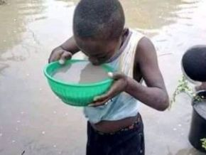 No, this picture of a boy drinking puddle water was not taken in Cameroon