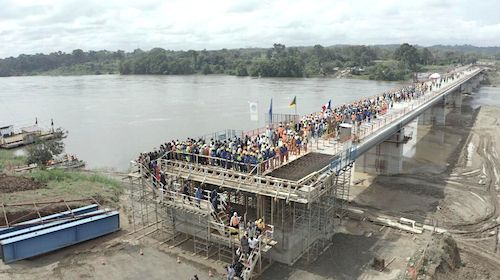 No, the bridge over the Sanaga River is not yet open to traffic