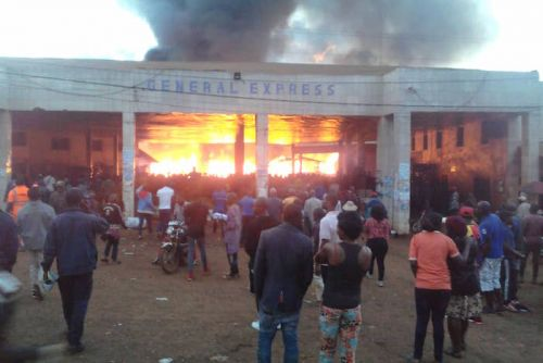 This Picture really depicts the fire that consumed part of Général Express headquarters