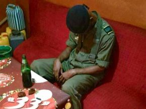 Yes, this young man is wearing the Cameroonian cadet officer's uniform